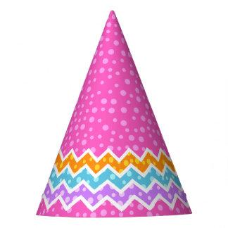 Polka Dot Chevron Pink Party Hat