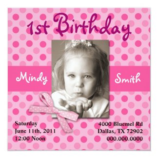 Polka Dot Child Birthday Invite (Girl)