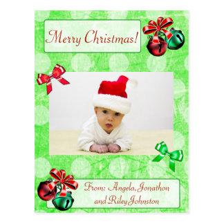 Polka Dot  Christmas Family Photo Postcard