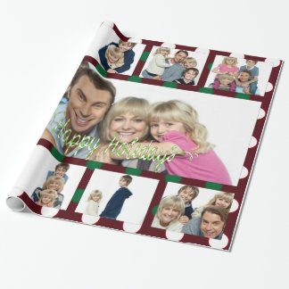 Polka Dot Christmas Personalized 9Picture Collage Wrapping Paper