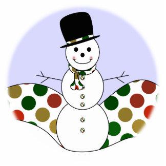 Polka Dot Christmas Snowman Photo Cutout
