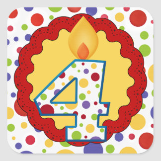Polka Dot Circus Fourth Birthday Square Sticker