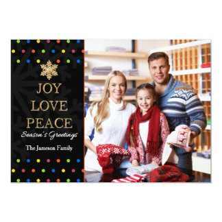 Polka Dot Colorful Personalized Christmas Card