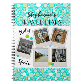 Polka Dot Crazy Custom Travel Diary and Photos Spiral Notebook