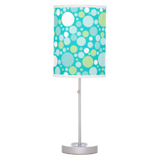 Polka Dot Crazy Pattern Turquoise Green White Table Lamp