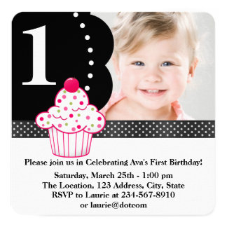 "Polka Dot Cupcake Girls Photo 1st Birthday Party 5.25"" Square Invitation Card"