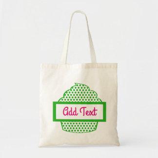 Polka dot cupcake tote in green