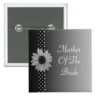 Polka Dot Daisy Grey & Black Wedding 2 Inch Square Button