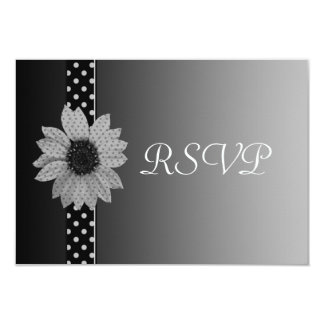 Polka Dot Daisy Grey & Black Wedding Card