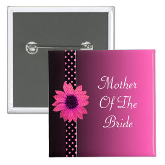 Polka Dot Daisy Pink Wedding 2 Inch Square Button
