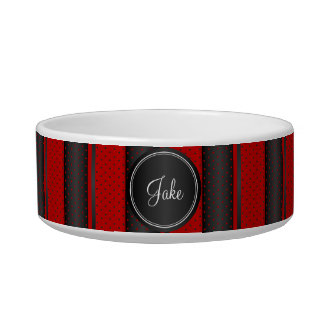 Polka Dot Dark Red and Black - DIY Name Bowl