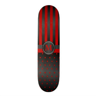 Polka Dot Deep Red and Black Stripes Skate Boards