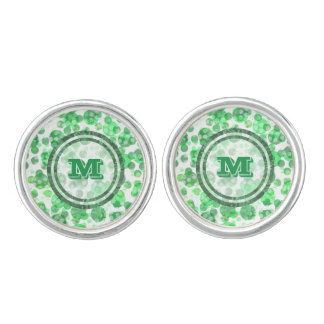 Polka Dot Distressed Green Monogram Cufflinks