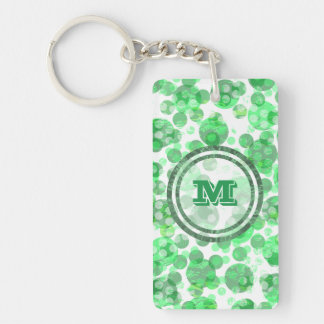 Polka Dot Distressed Green Monogram Double-Sided Rectangular Acrylic Keychain