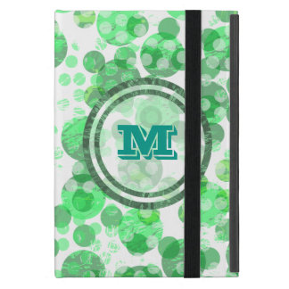 Polka Dot Distressed Green Monogram iPad Mini Cover