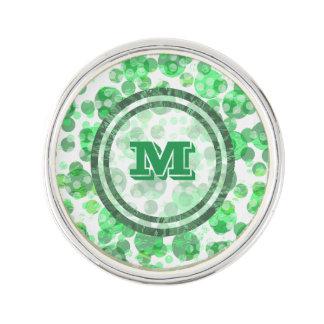 Polka Dot Distressed Green Monogram Lapel Pin