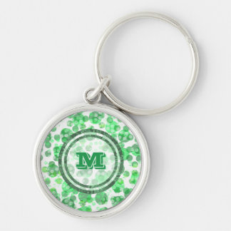 Polka Dot Distressed Green Monogram Silver-Colored Round Keychain