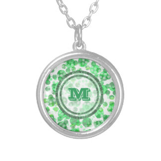 Polka Dot Distressed Green Monogram Silver Plated Necklace
