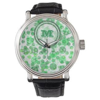 Polka Dot Distressed Green Monogram Watch