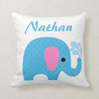 Polka Dot Elephant Animal Blue Pink Nursery Decor Throw Pillow