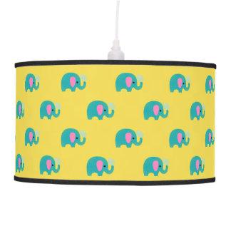 Polka Dot Elephant Blue Pink Unisex Nursery Decor Pendant Lamp