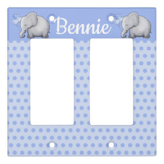 Polka Dot Elephant Personalized Baby Boy Nursery Light Switch Cover