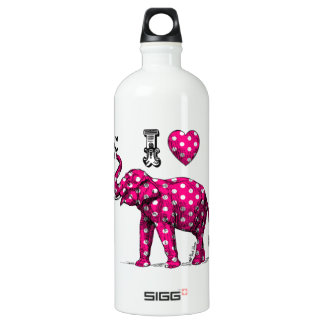 Polka Dot Elephant. Pink Elephant. Cute Elephant. Water Bottle