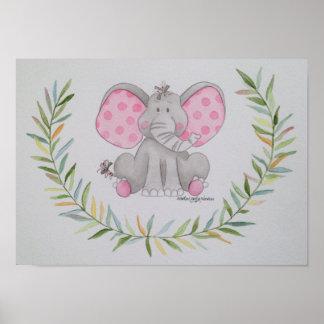 Polka dot Elephant Poster