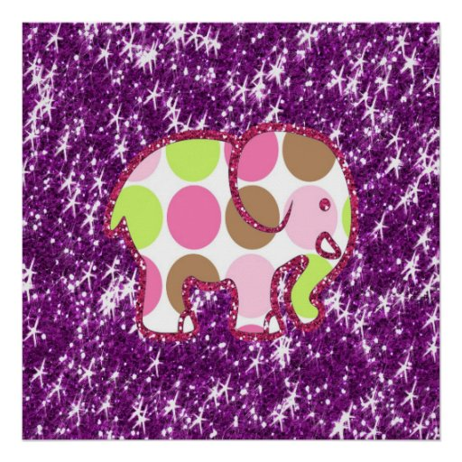 Polka Dot Elephant Sparkly Purple Girly Gifts Poster