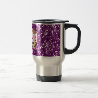Polka Dot Elephant Sparkly Purple Girly Gifts Travel Mug