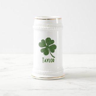 Polka dot Four Leaf Clover Customize Beer Stein
