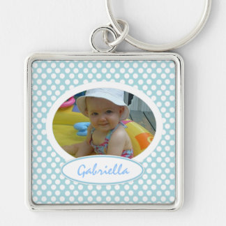 Polka Dot Framed Keychain: Add Your Picture Silver-Colored Square Keychain