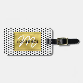 Polka Dot Gold Glam Monogram Travel Luggage Tag