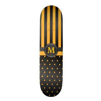 Polka Dot Golden Yellow and Black Stripes Skate Deck