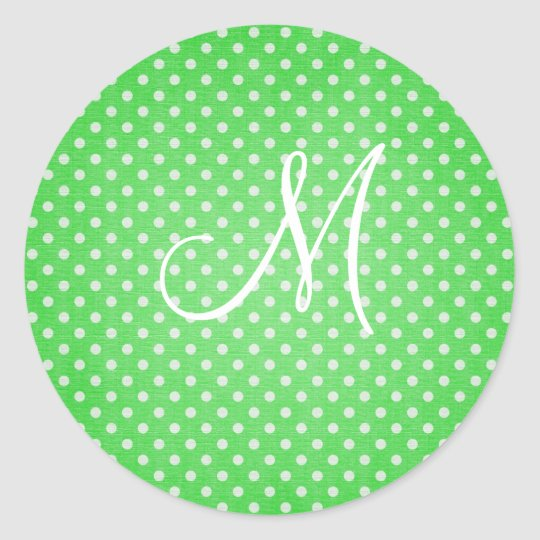 Polka Dot Green Classic Round Sticker