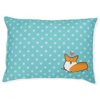 Polka Dot Happy Corgi Dog Bed