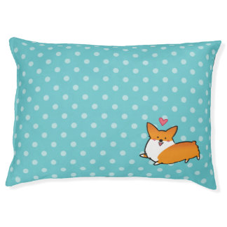 Polka Dot Happy Corgi Dog Bed Large Dog Bed