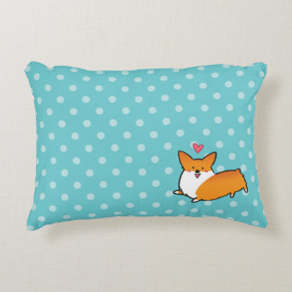 Polka Dot Happy Corgi Pillow