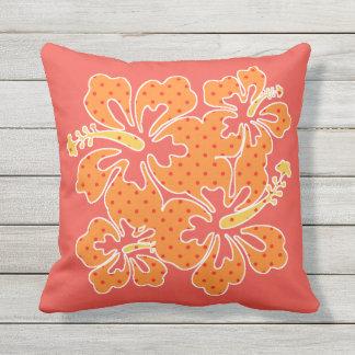 Polka Dot Hibiscus Tropical Outdoor Pillow