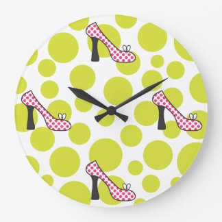 Polka Dot High Heel Pink & Green Shoes Clock