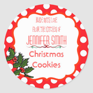 Polka Dot Holiday Christmas Bakery Baked Cookie Classic Round Sticker