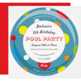 Polka Dot Inner Tube Pool Party Invitation