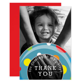 Polka Dot Inner Tube Summer Kids Thank You Card