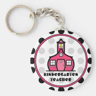 Polka Dot Kindergarten Teacher Keychain