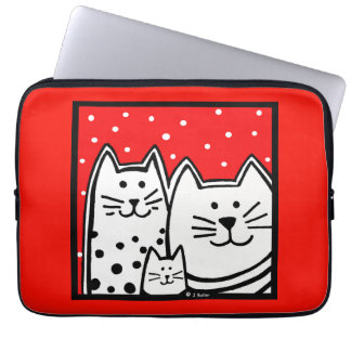 Polka Dot Kitties Lap Top Sleeve Computer Sleeves