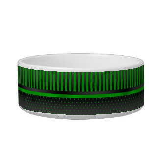 Polka Dot Lime Green and Black Stripes - DIY Name Cat Water Bowl