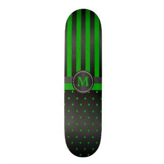 Polka Dot Lime Green and Black Stripes Skateboard
