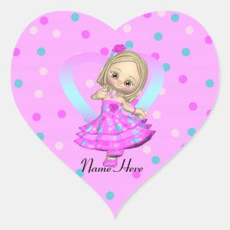 polka dot little girl customizable sticker