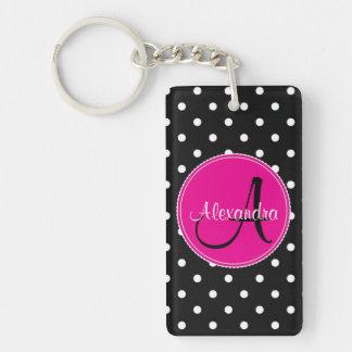 Polka dot monogram initial name elegant chic black Double-Sided rectangular acrylic keychain