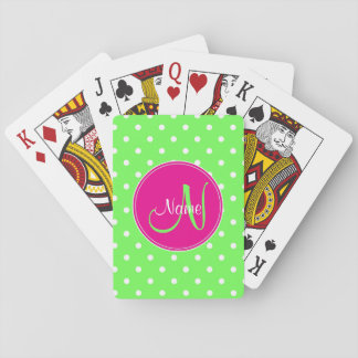Polka dot monogram initial name stylish green playing cards